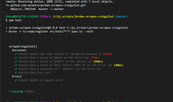 Jordan Unit Tests Web Scraping Done with Request