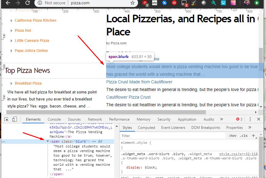 dev tools on pizza.com