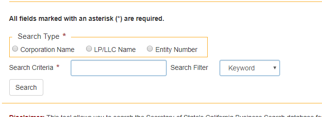 california secretary of state search form
