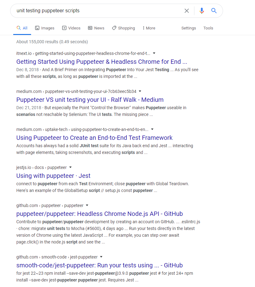 Google results for unit testing puppeteer scripts