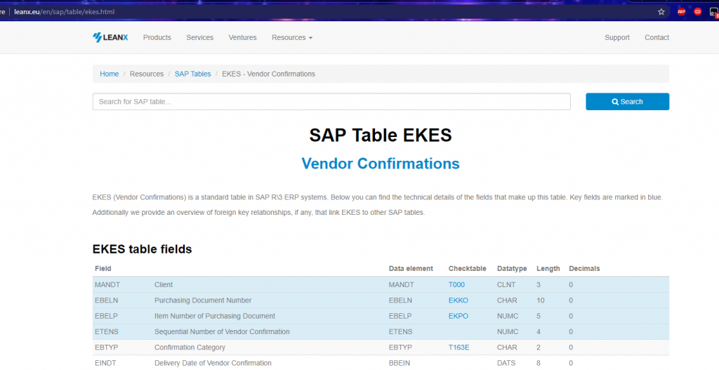leanx SAP table EKES
