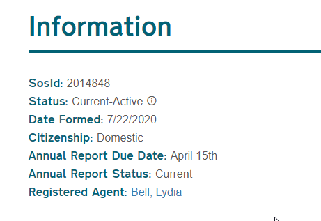 North Carolina Secretary of State information fields