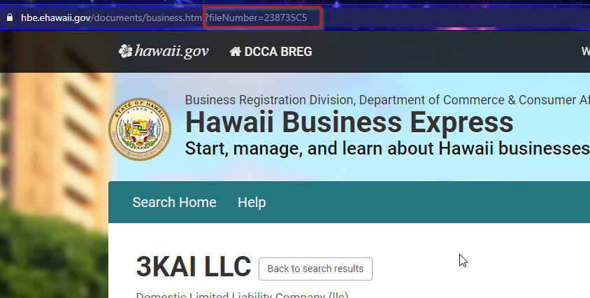 Hawaii business URL
