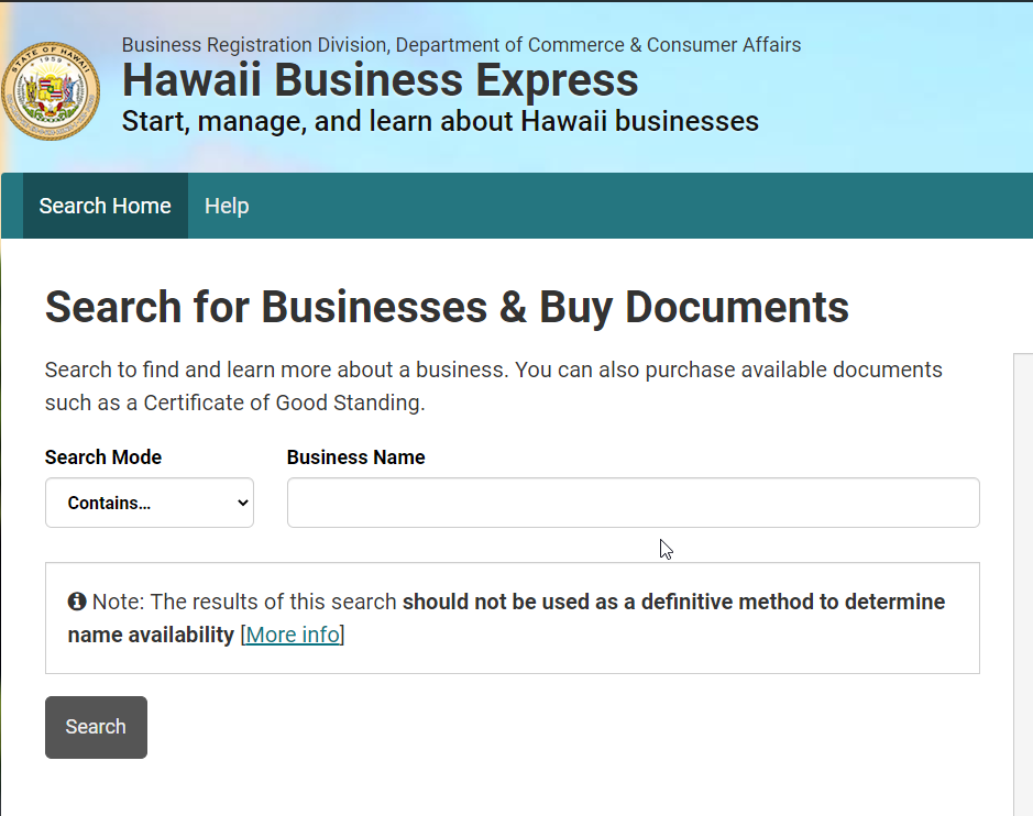 Hawaii secretary of state search