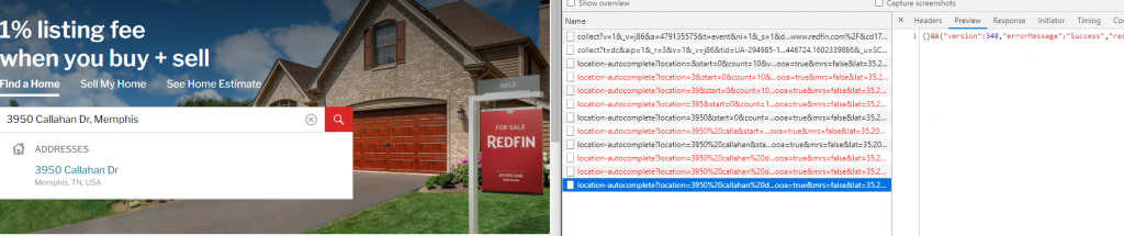 web scraping redfin's search